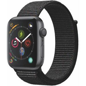 Apple Apple Watch Series 4 GPS, 44mm Space Grey Aluminium Case with Black Sport Loop Karórák - Šedá