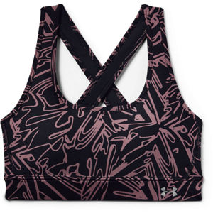 Under Armour ARMOUR MID CROSSBACK PRINTED BRA fekete XL - Női sportmelltartó